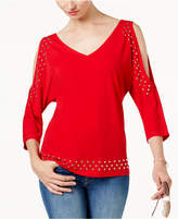 INC International Concepts Petite Embellished Cold-Shoulder Top, Created for Macy's