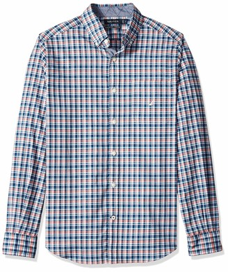 Nautica Men's Long Sleeve Stretch Poplin Plaid Button Down Shirt