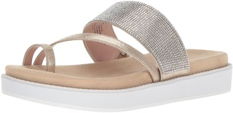 Kenneth Cole Reaction Women's Slam Shot Flat Sandal with Toe Ring and Micro-Jewel Strap