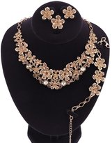 OUHE Women 18K Plated Necklace Earrings Ring Bracelet Jewelry Set Africa Beads Costume Show Wedding