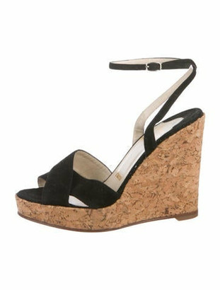 Christian Louboutin Suede Wedge Sandals Black