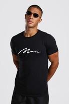 boohoo Mens Black White 3D MAN Signature Embroidered T-Shirt, Black