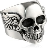 "King Baby Studio Industrial Romance"" Men's Arch Wing Skull Ring, Size 12"