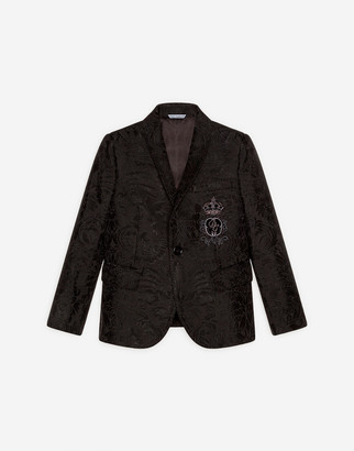 Dolce & Gabbana Single-Breasted Floral Jacquard Jacket With Patch