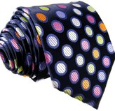 Shlax & Wing S5 Shlax&Wing Extra Long Size Dots Blue Multicolor Mens Neckties Ties Silk
