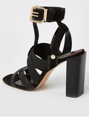 River Island Elastic Strap Block Heel Sandal - Black