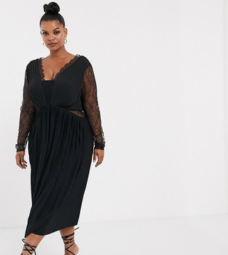 ASOS DESIGN Curve lace and pleat long sleeve midi dress