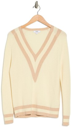 Reiss Katie Striped V-Neck Wool Blend Sweater