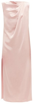 Marina Moscone Draped Satin Dress - Light Pink