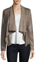 Neiman Marcus Asymmetric-Zip Faux-Leather Jacket