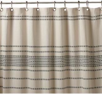 Coyuchi Rippled Stripe Shower Curtain, Ivory With Black