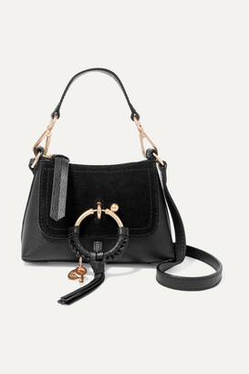 See by Chloe Joan Mini Suede-paneled Textured-leather Shoulder Bag - Black