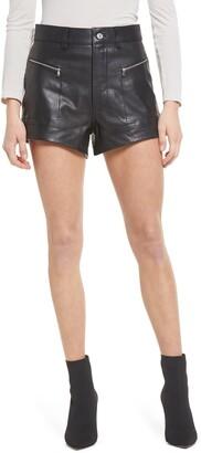 Seven London Zip Pocket Leather Shorts