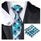 Hi Tie Men's Jacquard Woven Silk Teal Dimgray Tie Hanky Cufflinks Sets