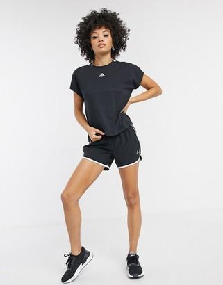 adidas 3 stripe shorts in black