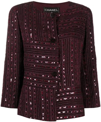 Chanel Pre Owned Sequin-Embellished Collarless Jacket