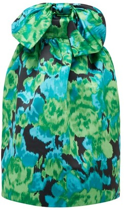 Richard Quinn Floral-print Strapless Satin Dress - Womens - Green Multi