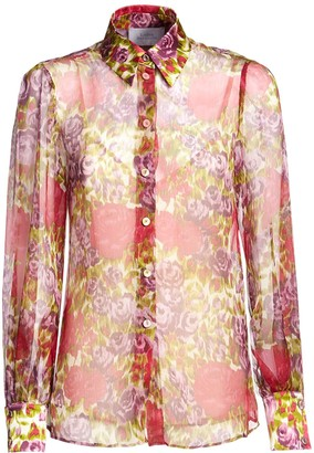 Luisa Beccaria Printed Sheer Silk Shirt