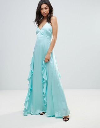 Y.A.S Elizabeth Waterfall Maxi Dress-Blue