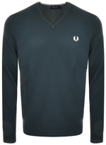 Fred Perry V Neck Knit Jumper Green