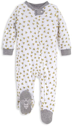 Burt's Bees Baby Honey Bee Organic Cotton Zip Front Loose Fit Footed Pajamas