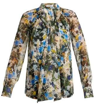 Erdem Rosabel Mariko-meadow Silk Blouse - Womens - Blue Print