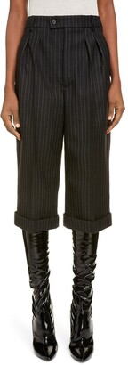 Saint Laurent Crop Pinstripe Wool Trousers