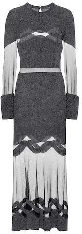 Alexander McQueen Panelled wool and tulle dress