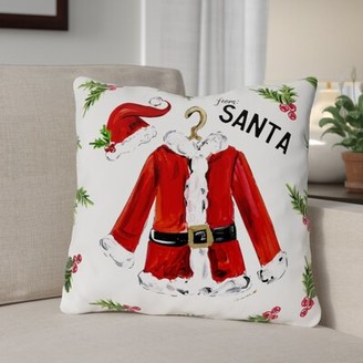 "Santa Jacket Throw Pillow The Holiday Aisle Size: 16"" x 16"""