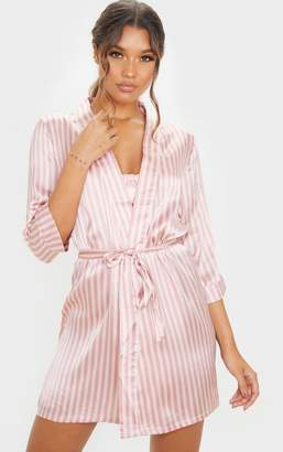 PrettyLittleThing Baby Pink Stripe Satin Robe