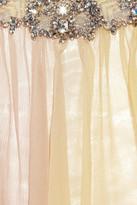 Jenny Packham Hand-painted silk-chiffon chemise