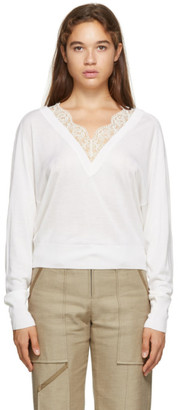 Chloé Off-White Wool and Silk Lace V-Neck Sweater
