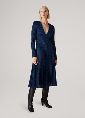 St. John Cable Stripes Sequin Knit Fit & Flare Dress
