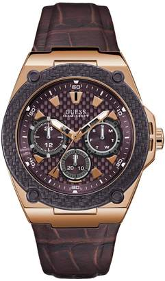 GUESS Integrated Stainless Steel Leather-Strap Watch