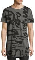 Diesel Brushstroke-Script Long T-Shirt, Black