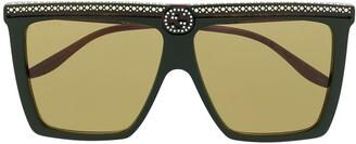 Gucci Rhinestone Studded Square Sunglasses