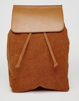 Asos Backpack In Faux Suede With Flap