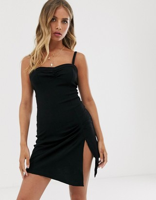 Free People Monroe side split mini dress-Black