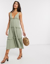 Asos Design DESIGN button front tiered midi sundress in textured crinkle in khaki