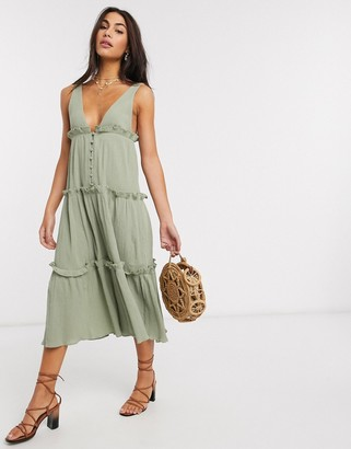 ASOS DESIGN button front tiered midi sundress in textured crinkle in khaki