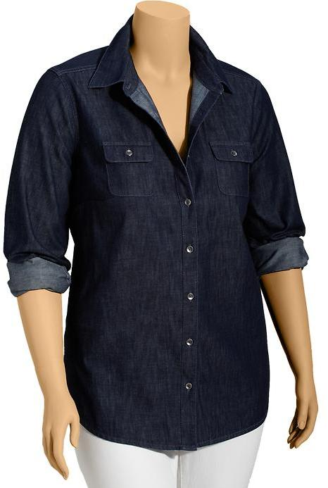 Old Navy Women's Plus Dark Chambray Shirts