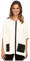 Calvin Klein Sweater Cape with Faux Leather Pocket
