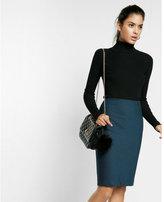 Express dobby check pencil skirt