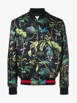 Gucci Tropical Print Silk Bomber Jacket