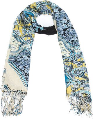 Roberto Cavalli Blue Floral Printed Cashmere Blend Fringed Scarf