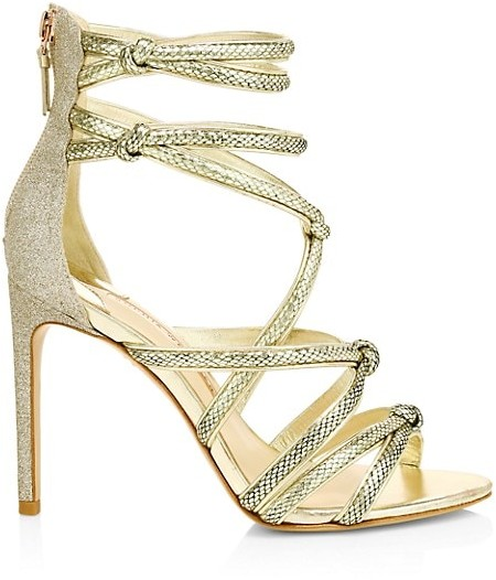 Sophia Webster Glitter Metallic Lizard-Embossed Leather Stiletto Sandals