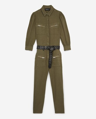 The Kooples Flowing khaki jumpsuit with zipped pockets