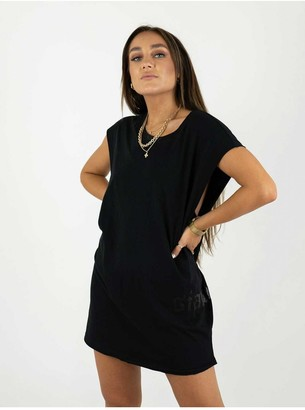 Sian Marie Sleeveless Black Relaxed Fit Tee Dress