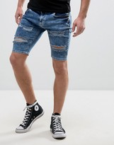 SikSilk Super Skinny Shorts With Distressing