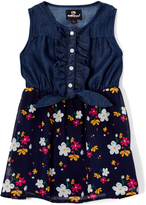 Dollhouse Dark Blue Floral A-Line Dress - Infant Toddler & Girls